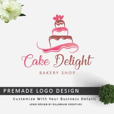 Cake Shop Logo – Cake Bakery Logo – Cake logo design Simple, elegant and eye catching cake shop logo design suitable for shops. If you are looking cake logo design, have a look! Ask to customize with details. Cake Shop Design, Cake Logo Design, Food Logo Design, Logo Food, Custom Logo Design, Graphic Design, Design Design, Bakery Names, Bakery Logo