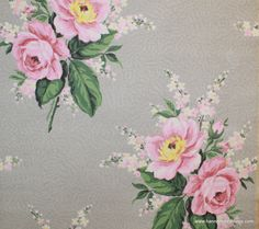 1940's Vintage Wallpaper Pink Rose Bouquets on Gray background.