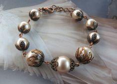 Antique Parisian Style Pearl Bracelet Vintage Bracelet Edwardian Antique Jewelry Victorian Copper Bracelet Wedding Gift for Bride Bracelet Antique Bracelets, Antique Earrings, Vintage Bracelet, Copper Bracelet, Pearl Bracelet, Pearl Jewelry, Wire Jewelry, Victorian Jewelry, Antique Jewelry