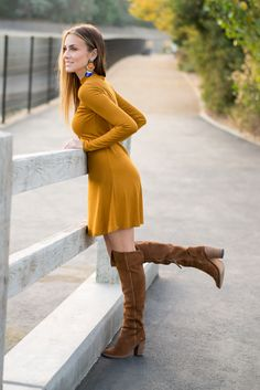 Wearing this cute $15 mustard turtleneck dress and brown over-the-knee boots. #HelloGorgeous
