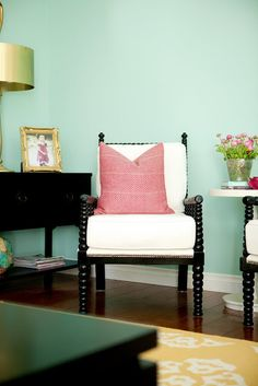 FAMILY ROOM Before & After » Martha Stewart Sea Glass paint color.