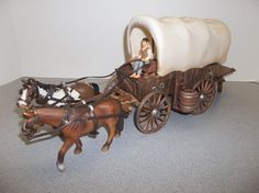 RETIRED Schleich 42024 COVERED WAGON Play Set. COMPLETE w/All Original Pieces