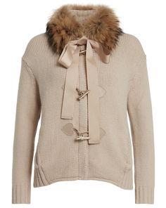 TWIN-SET by Simona Barbieri Strickjacke mit Echtfell-Besatz - beige Jetzt auf kleidoo.de bestellen! #kleidoo #fashion #trend #twinset #herbst #winter #strickjacke #cardigan
