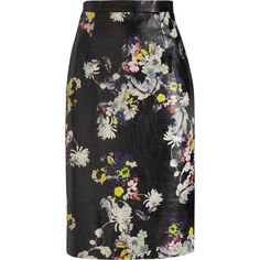 Erdem Aysha floral-print leather pencil skirt (£700) ❤ liked on Polyvore featuring skirts, black, stretch pencil skirt, leather zipper skirt, floral skirt, knee length leather skirt and stretchy pencil skirt
