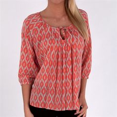 Milano Ikat Print Pleated Tie-Neck Blouse