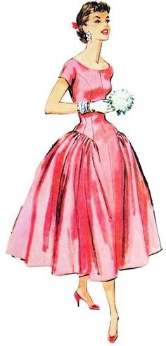 1950s Fashion Outfit Sketch. Brightly coloured clothes and accessories became fashionable in the 1950s and the bikini was developed.