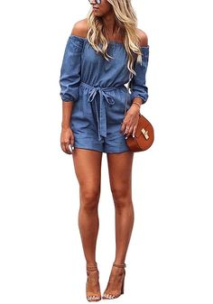 Look perfectly gorgeous in this pretty denim blue off-shoulder romper.