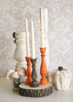 I love the wooden effect this paint job gives the candle holders. The trick here is to paint it black first, then the color on top.