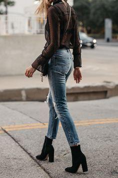Black Lace Top Levis Denim Jeans Club Monaco Black Ankle Booties Fashion Jackson Dallas Blogger Fashion Blogger Street Style