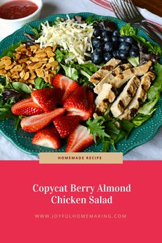 Salads are such an appetizing, cool and healthy choice for a hot summer time dinner or lunch. On vacation this year, I enjoyed trying Wendys' Berry Almond Chicken Salad a few times, and liked it so much that I had. Healthy Protein Snacks, Healthy Foods To Eat, Healthy Eating, Healthy Recipes, Healthy Lunches, Fun Recipes, Healthy Dishes, Side Recipes, Detox Recipes