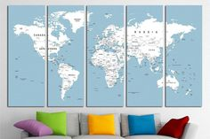 new images most current pics world map bedroom canvas art ideas recipe tips recipe Bedroom Canvas, Canvas Wall Decor, Wall Art, World Map Bedroom, Push Pin Art, Push Pin World Map, World Map Canvas, World Map Poster