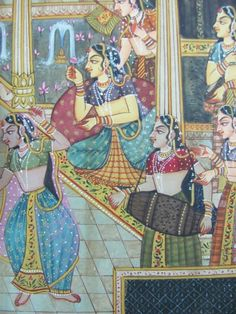 The Mughal ladies spent their entire lives inside the emperors harem. A feeling of awe and mystery even today fills ones mind when one hears of the Mughal harem. The harems of the Mughal emperors consisted of a large number of women and in it lived women of different races, provinces and communities. Apart from Muslim women there were Hindu women including Rajput ladies, and even Christian women in the harem of the Mughal emperors. Empire Moghol, Different Races, Wedding Painting, Harems, History Of India, Mughal Empire, Indian Folk Art, India Art, Indian Weddings
