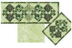 Argyle Placemats & Runner with Reversible Napkins Pattern