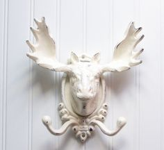 Large Moose Head Wall Hook / Cast Iron Refinished in Shabby Creamy White / Faux Taxidermy (Etsy) Moose Head, Moose Nursery, Antler Art, Faux Taxidermy, Decorating Tools, Cool Walls, Wall Hooks, Antlers, House