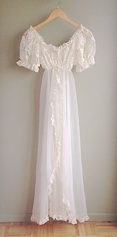 Vintage Tosca Lingerie Long Ivory Lace Gown by QueenBAccessories1, $45.00