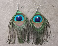 Guinea Hen and Pheasant Feather Earrings by daniAWESOME on Etsy