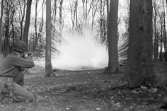 An infantryman fires a white phosphorous rifle grenade into a German defensive position outside Nickenick on March 26, 1945. The soldier belonged to Company M, 3rd Battalion, 109th Infantry Regiment.