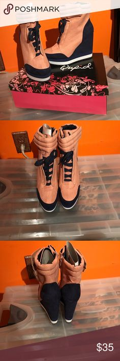 Womens Qupid Sneaker Wedges Size 9 Blue and Coral Qupid Wedges Size 9 . Brand new never worn comes with original box Qupid Shoes Wedges