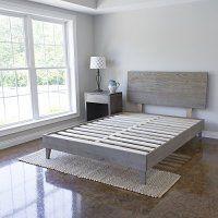 Eluxurysupply Wood Platform Bed With Headboard Solid Hardwood