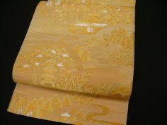 """This one is gorgeous. - Gold Silk """"Rokutsuu Fukuro-obi"""" w/Japanese Scenery K583"""