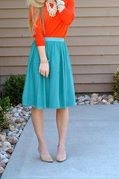 Blue/teal skirt with coral top Teal Outfits, Colourful Outfits, Modest Outfits, Simple Outfits, Skirt Outfits, Modest Fashion, Cute Outfits, Summer Outfits, Colorful