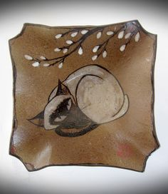Siamese cat with pussywillow on brown stoneware textured pottery by Tracie Griffith Tso