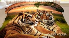 Zelený obojstranný prehoz s dvoma tigrami v prírode 3d, Nature, Animals, Naturaleza, Animales, Animaux, Animal, Animais, Nature Illustration