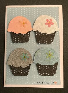 Handmade cupcake card for someone sweet! Created by Polka Dot Heart Art.