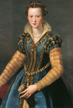 Positively breathtaking painting! This lady must have had some wealth to have this kind of dress.      Isabella di Cosimo Medici, ca. 1555-1558, by Alessandro Allori