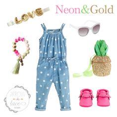 Neon Pink & Gold. Love Headband, Caged Bird Blog Bracelet, White sunglasses, pineapple purse, neon pink freshly picked moc's. Zara romper. #arrowandlacelooks