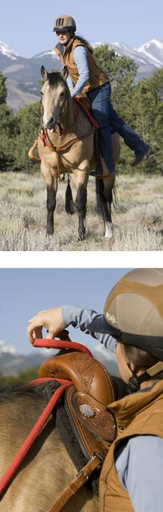 Top: On the trail, it's safer if your horse will stand still for mounting. Bottom: To teach your horse to stand still while you mount up, you'll longe him to make him work if he takes an errant step. To ready him for longeing, you'll secure his reins so he won't trip. Shown is how to secure single-loop rope reins.