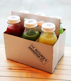 Organic Farmer's Market food truck idea! Creating smoothies from the farmers market they are parked at and selling them as a 6 pack! The Butchers Daughter, New York
