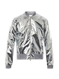 Silver jackets Silver jackets richard nicoll metallic lightweight bomber jacket in silver for men OIJFANL Metallic Bomber Jacket, Grey Leather Jacket, Grey Bomber Jacket, Gold Jacket, Moda Instagram, Holographic Jacket, Custom Leather Jackets, Thing 1, Outfits