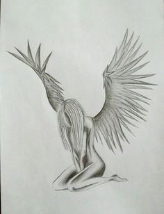 Ángel pencil aesthetic black and white