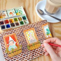 Happy Saturday! Painting at my favorite coffee shop, sipping my soy chai latte…