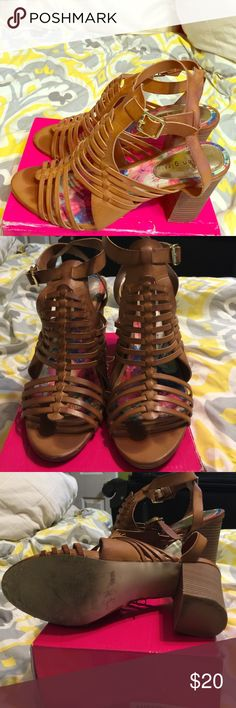 Madden Girl Strappy Sandals Brown heeled sandal. Very cute. Fastens around ankle. Good condition. Size 11. Shoes Sandals