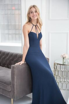 Style 5911 Hayley Paige Occasions bridesmaids gown - Indigo chiffon A-line gown, strap detail at neckline with V- notch, natural waist.Spring 2019 Bridesmaids dresses arriving in stores early January Bridesmaid Dresses, Prom Dresses, Bridesmaids, Wedding Dresses, Lace Wedding, Chiffon, Hayley Paige, A Line Gown, Popular Dresses
