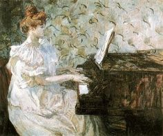 ♪ The Musical Arts ♪ music musician paintings - Henri de Toulouse-Lautrec | Misia Godebska Natanson Sert at the Piano