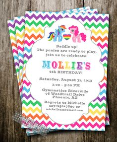 My Little Pony Inspired Invitation Party Raindow Girl Birthday Digital Printable DIY