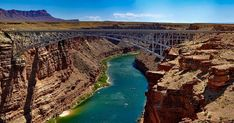 Boats Passing Below Marble Canyon Navajo Bridges 0659 by Grand Canyon. Grand Canyon Arizona, Parque Nacional Do Grand Canyon, Rivers In The Desert, Marble Canyon, Landscape Photography Tips, Colorado River, Urban Landscape, Oh The Places You'll Go, National Parks