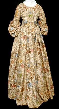 A silk brocade Robe a l'anglaise wedding dress, ca. 1760s (textile earlier?)