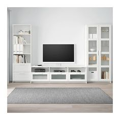 BRIMNES TV storage combination/glass doors, white, When it's organized by the TV it's easier to indulge in your favorite TV series. Brimnes, Ikea Entertainment Center, Glass Cabinet Doors, Glass Doors, Glass Shelves, Tv Wanddekor, Rack Tv, Tv Wall Decor, Painted Drawers