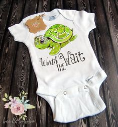 clothes kids Worth the Wait Sea Turtle Baby Onesie ® for Pregnancy Announcement or Reveal , Cute Baby Clothes , Baby Shower Gift , Girls Take Home Outfit Baby Outfits, Kids Outfits, Family Outfits, Baby Turtles, Turtle Baby, Sea Turtles, Boho Baby Kleidung, Turtle Nursery, Boho Baby Clothes