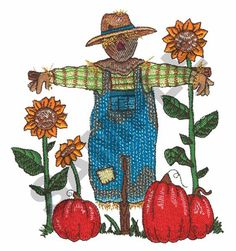 Great Notions Embroidery Design: SCARECROW IN THE SUNFLOWERS 5.20 inches H x 4.56 inches W