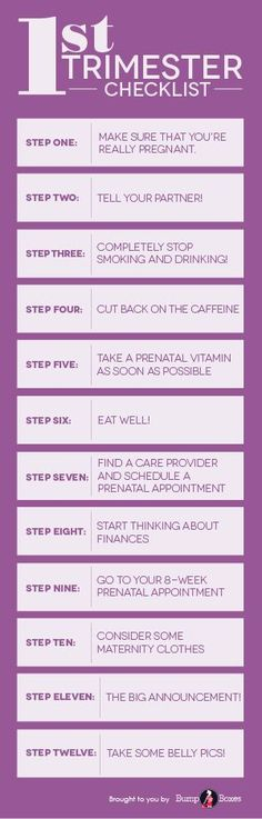 Here are 12 steps to help you through your first 13 weeks of pregnancy! #BumpBoxes