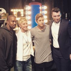 scooterbraun: Good times yestersay with the bday girl @theellenshow with @justinbieber @kanyewest and @samsmithworld