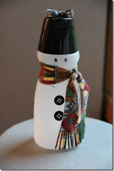 DIY Crafts: I know you use LOTS of creamer bottles! ♥ This particular Snowman is made with a Baileys Creamer Bottle! All Things Christmas, Christmas Fun, Holiday Fun, Christmas Decorations, Christmas Wonderland, Holiday Foods, Christmas Wishes, Holiday Ideas, Snowman Crafts