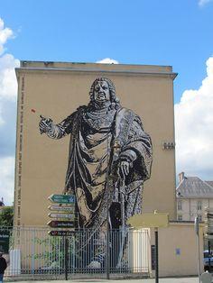 """Fresque éphémère """"Stan"""" de Jef Aerosol réalisée dans le cadre du 250ème anniversaire de la réunion de la Lorraine à la France"""