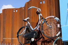 Yarn bombed bike, via Flickr.