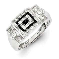 #Men's 1/3 Carat Black Clear #Diamond #Ring Men's Sterling Silver Jewelry Available Exclusively at Gemologica.com